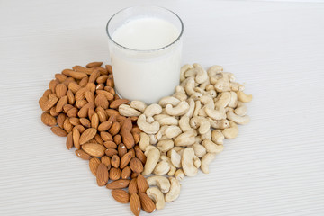 Almond and Cashew Nuts Milk. Vegan Food. Healthcare.