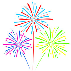 Colorful fireworks isolated on white background. Vector illustration.