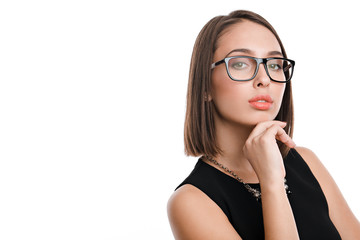 sexy business woman in glasses on a white background
