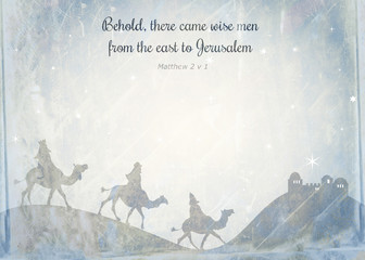 Shabby chic Christmas background note paper design with the wise men riding on camels and bible scripture text.