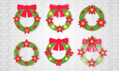 Christmas wreath set with red bow icon with long shadow. Vector illustration minimal flat design.
