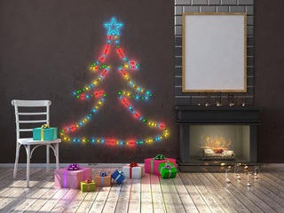 Mock up poster on the wall with chimney,christmas tree and christmas decorations. 3d render