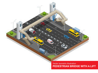 Isometric pedestrian bridge with a lift over the highway. Set of the isometric pedestrian bridge