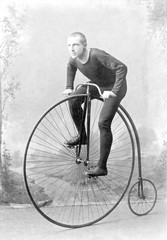 Vintage portrait cyclist William Martin on Boneshaker