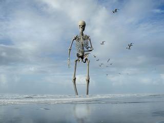 a rendered illustration of a skeleton monster emerging from the ocean