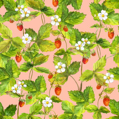 Seamless wallpaper with a lot of wild forest strawberry berry. Watercolor botanical drawing on pink background