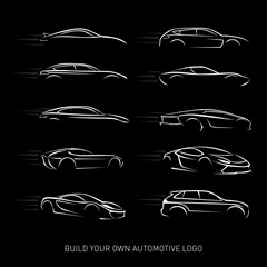 Car logotypes Silhouette - car service and repair, vector set. Car logo. Isolated vector illustrations. Black and white version.