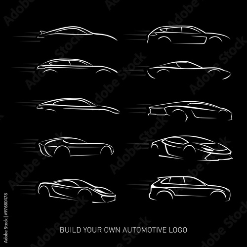 quotcar logotypes silhouette car service and repair vector