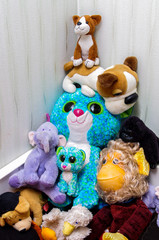 Soft toys arranged in pyramid by child