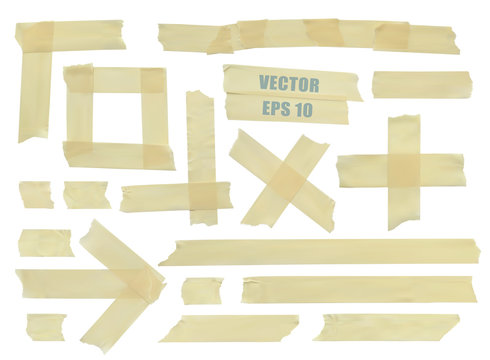 Set of various adhesive tape pieces. Realistic illustration vector Eps 10.