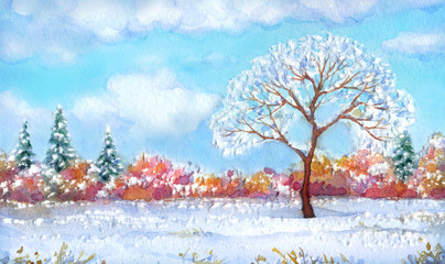 """Watercolor landscape of series """"Tree in different seasons"""""""