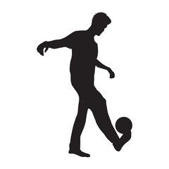 man holding ball on leg silhouette