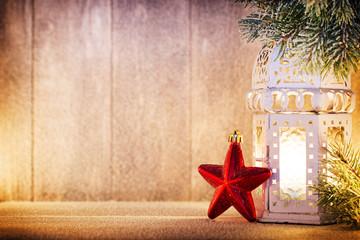 Lantern. Christmas light, christmas decor and scene.