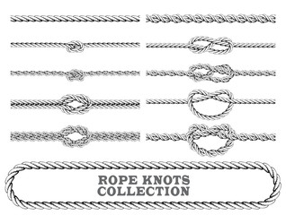 Rope knots collection. Overhand, Figure of eight and square knot. Seamless decorative elements. Vector illustration.