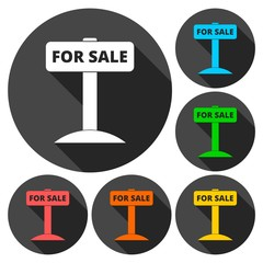 For sale sign, icons set with long shadow