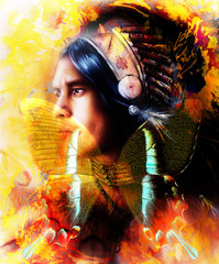beautiful painting of a young indian warrior wearing a gorgeous feather headdress and butterfly, profile portrait. abstract color background. Transformation concept.