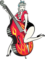 Rockabilly pinup chick playing a double bass
