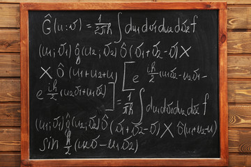 School blackboard with formulas on a brick wall