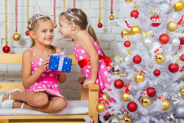 Two girls were talking about the Christmas tree