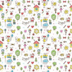 Hand drawn funny children drawings color seamless pattern. Doodl