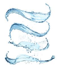 blue water splashes isolated on white background