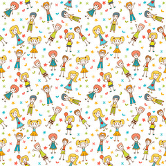 Hand drawn seamless pattern with happy children. Funny backgroun