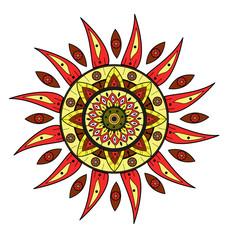A doodle multicolor sun vector, sole colorato decorato vettoriale