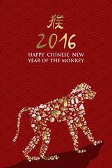 2016 happy chinese new year monkey china ape icon