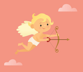 Flying cupid with a bow and arrow