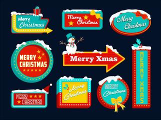Merry christmas retro set sign snow snowman xmas