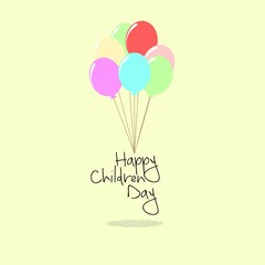 Happy children day card, with Balloon