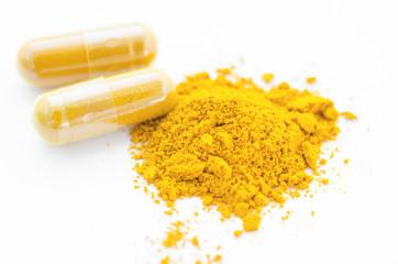 Turmeric herbal powder in capsule.