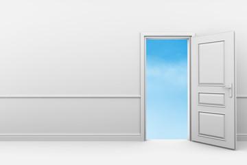 Room with an open door in blue clouds