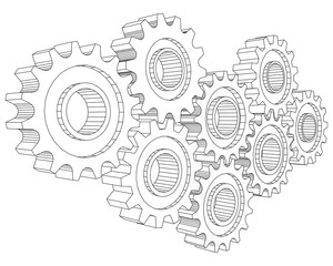 Vector Cog wheel gear mechanism close-up. White background