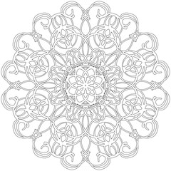 Black and white abstract circular pattern mandala.