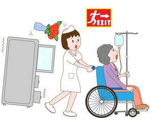地震で避難する入院患者