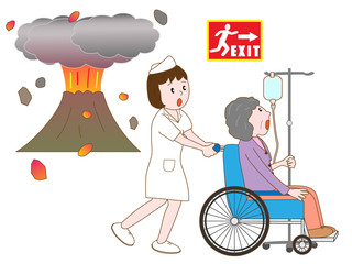 噴火で避難する入院患者