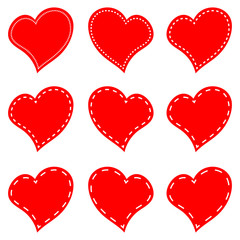 Vector of set red hearts