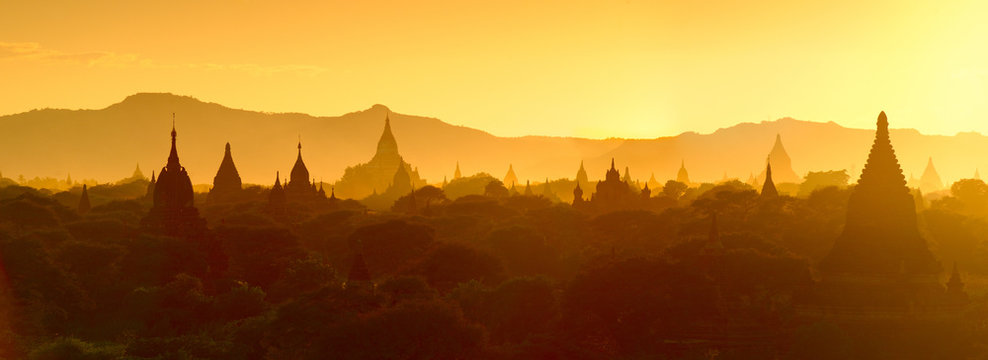 Silhouette of temples and stupa sunset over Bagan in Myanmar