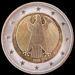National side of Germany two euro coin on black background