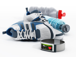 Jogging shoes, water bottles and smartwatch