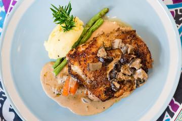 Chicken steak with mash potato