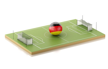 3d Soccer field and Germany ball.