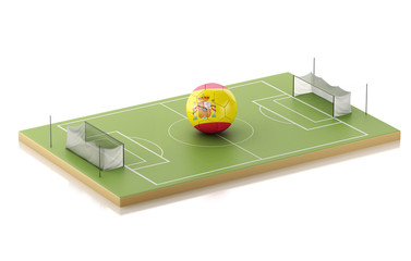 3d Soccer field and Spain ball.