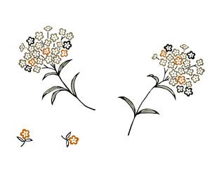 간결한 장식으로 표현된 수국 꽃무리