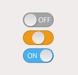Toggle switch icon, on, off position icons, flat design style user interface