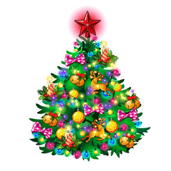 Traditional Christmas tree with toys, isolated vector