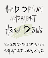 Hand drawn alphabet in retro style. ABC for your design. Letters of the alphabet written with a brush.