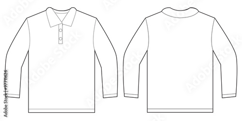 full size t shirt template - white long sleeve polo shirt design template stock image