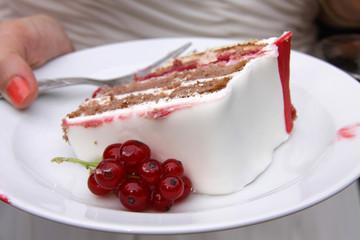 Torte mit roten Johannisbeeren